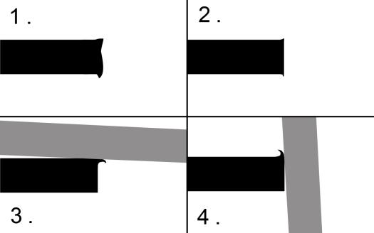 刃付けのイメージ、1のスクレイパーのエッジを研ぎ、2の状態にして、バーニッッシャーという鋼の棒で刃を曲げて4の状態にします