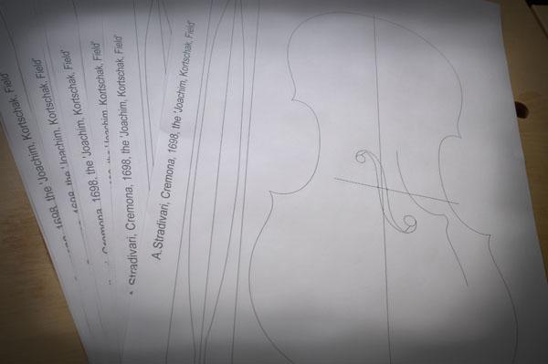 1:1でプリントアウトした内型の図面
