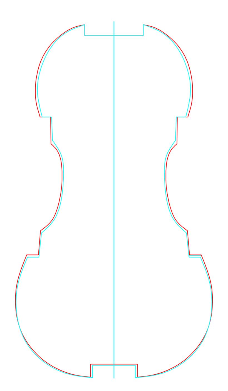 赤: 復元ライン / シアン: 実際のライン